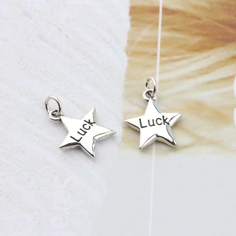 Buyee 100% 925 Sterling Silver Luck Star Necklace Women Thai Silver Retro Pentagram Pendant Charm for Women Party Jewelry Gift