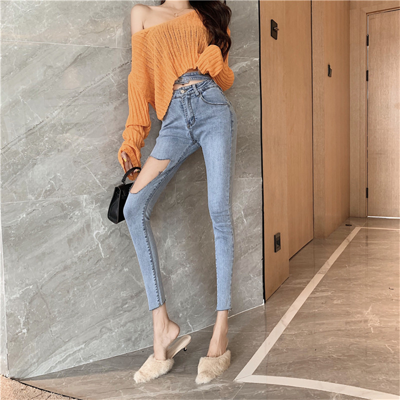 Real shot 2020 new fashion temperament all-match ripped high waist hollow jeans slim stretch pencil pants