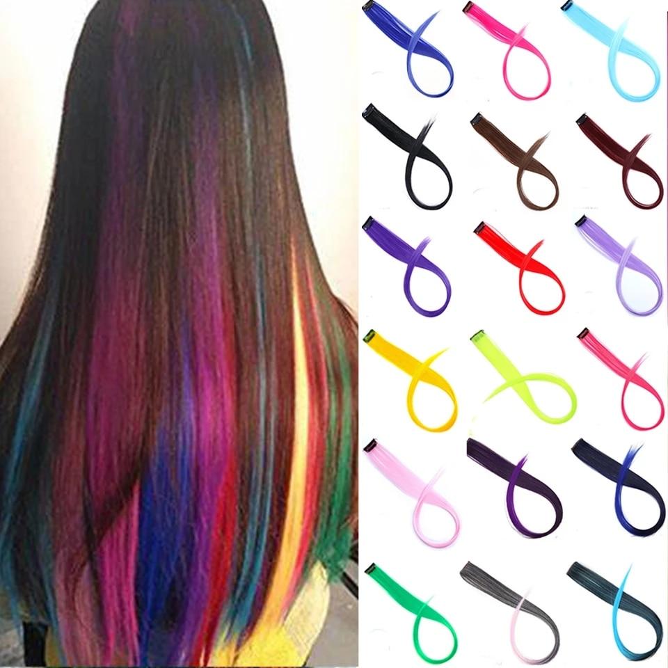 Lupu Rainbow Highlighted Synthetic Hair Girl One Chip In Hair Extension Hairpin Long Straight Hair Clip For Hair False Hair 1