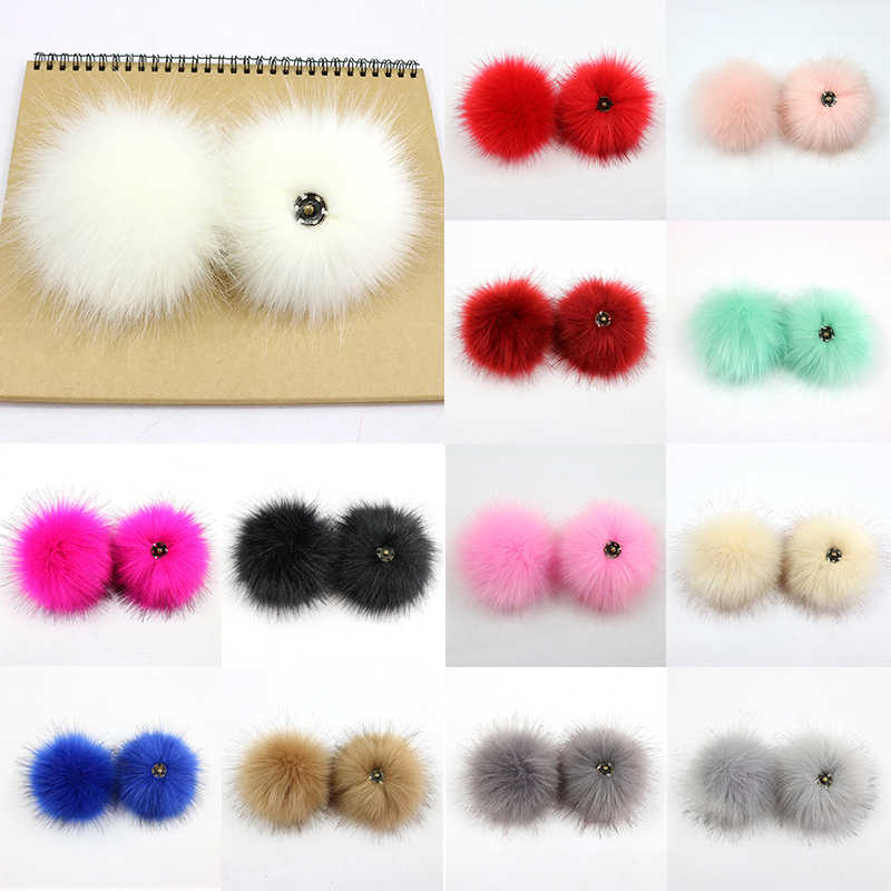 8-10cm DIY Faux Fur Pompoms Fox Raccoon Fur Pom Poms Natural Fur Pompon For Hats Bags Shoes Accessories Craft Supplies