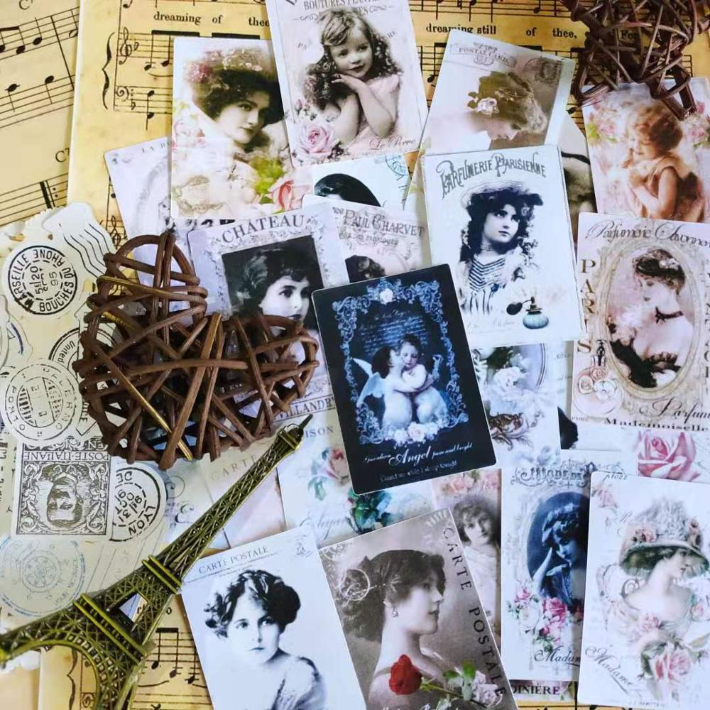 20-50 PCS Vintage Victoria Girl Postmark Seal Stickers Journal Material Diy Ablum Diary Scrapbooking Label Adhesive Stationery