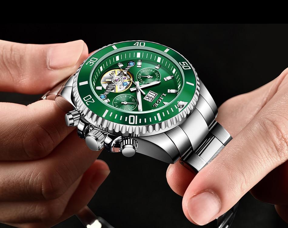 luxo tourbillon relógio mecânico todo o aço
