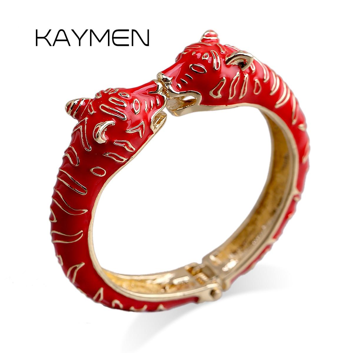 KAYMEN Новый Браслет-манжета с головой леопарда животного для девушек женщин позолоченный именной браслет модный браслет 4 цвета 3316