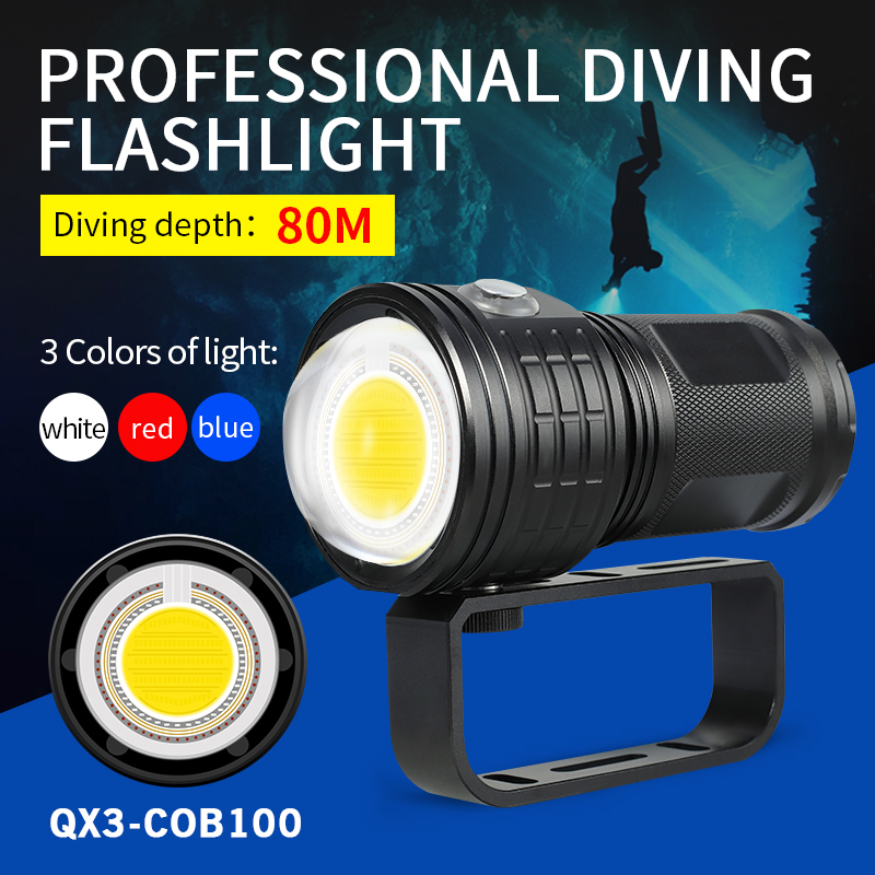 High-power Diving Torch Underwater 80 M Photography COB Supplementary Light Lamp White Blue Red Light Use 4*18650 Battery
