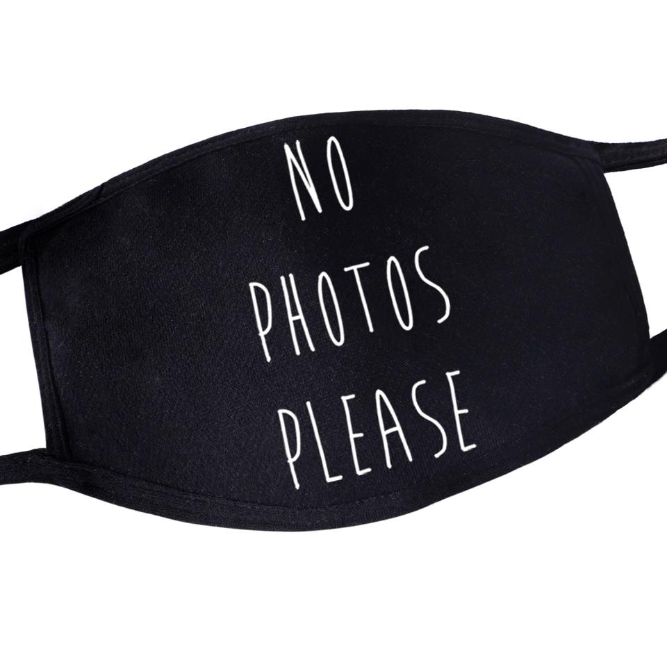 No Photos Please Mouth Mask Maseczki For Womens Mens Kids Washable Hip Hop Reusable Protective Masker Dust Proof Flu Mask