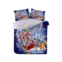 Presente de natal mickey minnie conjunto cama capa edredão fronha têxtil casa adulto crianças presente rainha rei tamanho conjunto