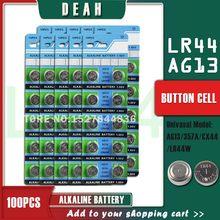DEAH 100PCS AG13 LR44 1.55V Alcalina de Célula tipo Moeda Bateria AG 13 LR44W LR1154 SR44 A76 357A 303 357 Baterias Botão Para Relógios de Brinquedo