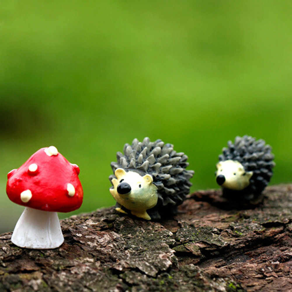 3 Buah/Set Taman Lumut Resin Kerajinan Buatan Mini Landak Red Dot Jamur Miniatur Ornamen Hedgehog Dekorasi Taman Peri A30731