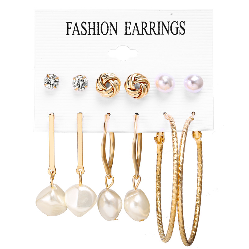 Hcac7b3654c2b45779987683440b76b4bF - IF ME Fashion Vintage Gold Pearl Round Circle Drop Earrings Set For Women Girl Large Acrylic Tortoise shell Dangle Ear Jewelry