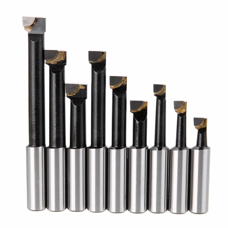 9Pcs Durable Hard Alloy Shank Boring Bar Set Carbide Tipped Bars 1/2 inch Shank Lathe Tools For 2 Inch 50Mm Boring Head For Lath