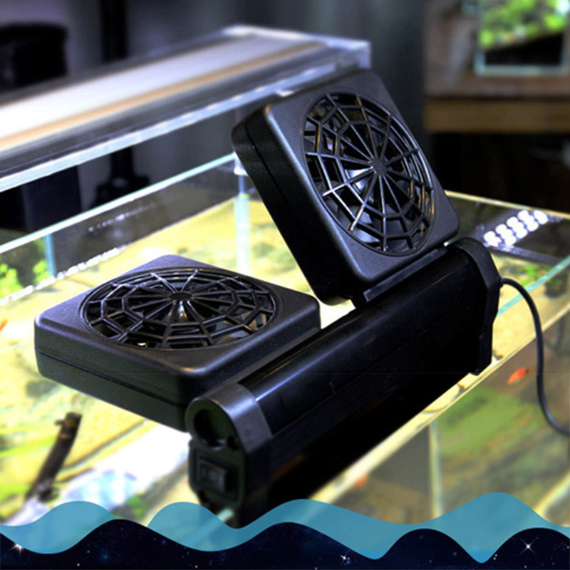1/2/3/4 Heads Fan Black Aquarium Fish Tank Cooling Fans Cold Wind Chiller Adjustable Water Cooler Temperature Control Equipment