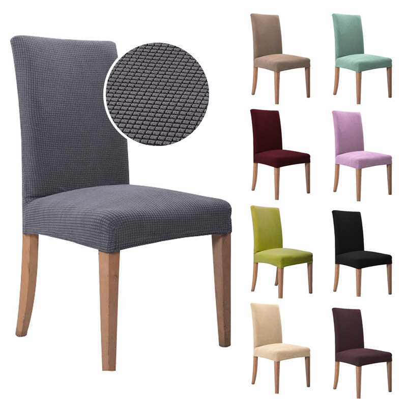 1/2/4/6 Pcs Jacquard Plain Dining Chair Cover Spandex Elastic Chair Slipcover Case Stretch Chair Cover For Wedding Hotel Banquet