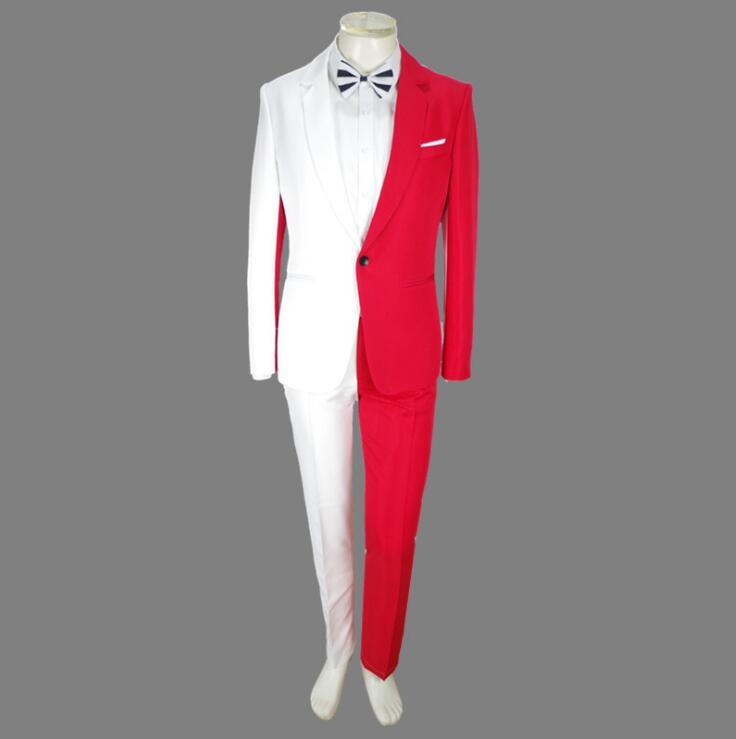 Jacket   pants new Red white suit luxury personality suits male party blazers men wedding suit men fashion slim graduation coat