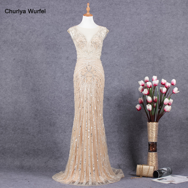YY051 Churlya Wurfel Gala Dress Prom Party Dress O-neck Sequined Beaded Evening Dresses Mermaid Zipper Illusion Vestidos De Gala
