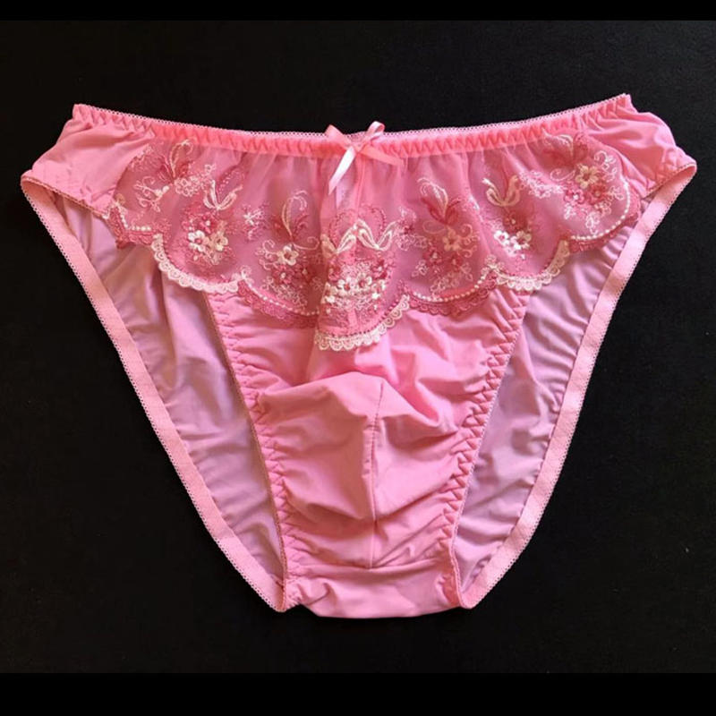 Sexy Men Lace Underwear Erotic Sissy Briefs Underpants Milk Silk Flower Gay Underwear Stretchy Bulge Pouch Panties