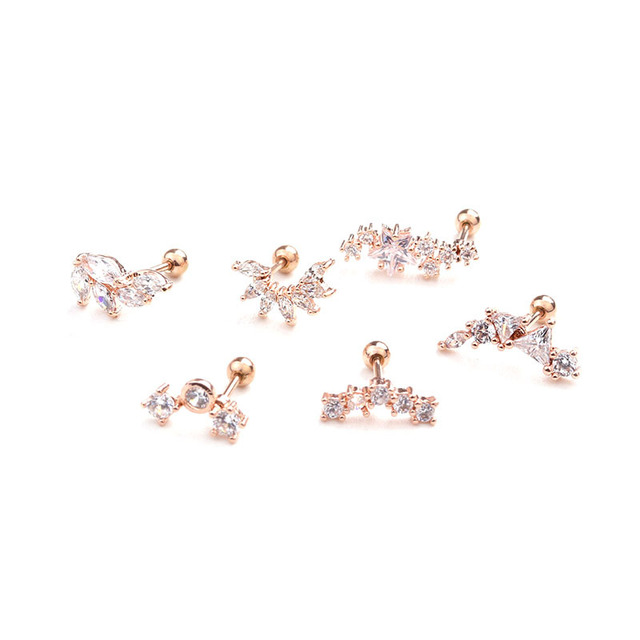 SHUANGR Rose Gold Color Curved Cz Cartilage Stud Helix Rook Conch Screw Back Earring Stainless Steel.jpg 640x640 - SHUANGR Rose Gold Color Curved Cz Cartilage Stud Helix Rook Conch Screw Back Earring Stainless Steel Ear Piercing Jewelry