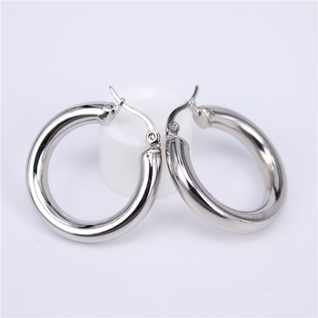 Stainless Steel Hoop Earrings Earrings Jewelry Women Jewelry Metal Color: Steel 30MM Round