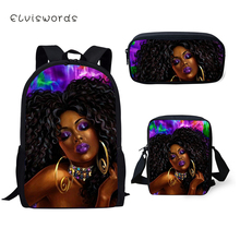 ELVISWORDS Black Afro Girls Childrens School Backpack Set Cartoon Design Kids Book Bags 3PCs Students