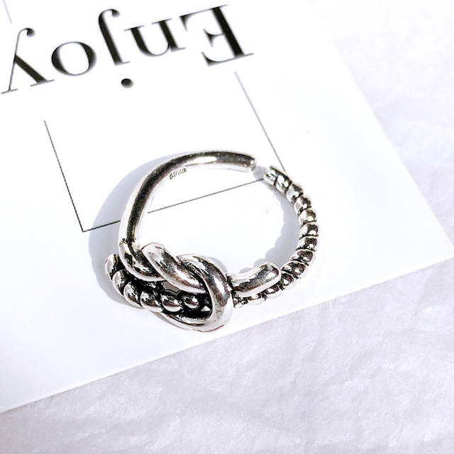 Retro Neutral Multi-layer Smiley Face Wide Ring for Women Antique Silver Color Opening Student Ring Hip-hop Punk Trend New 2020 6