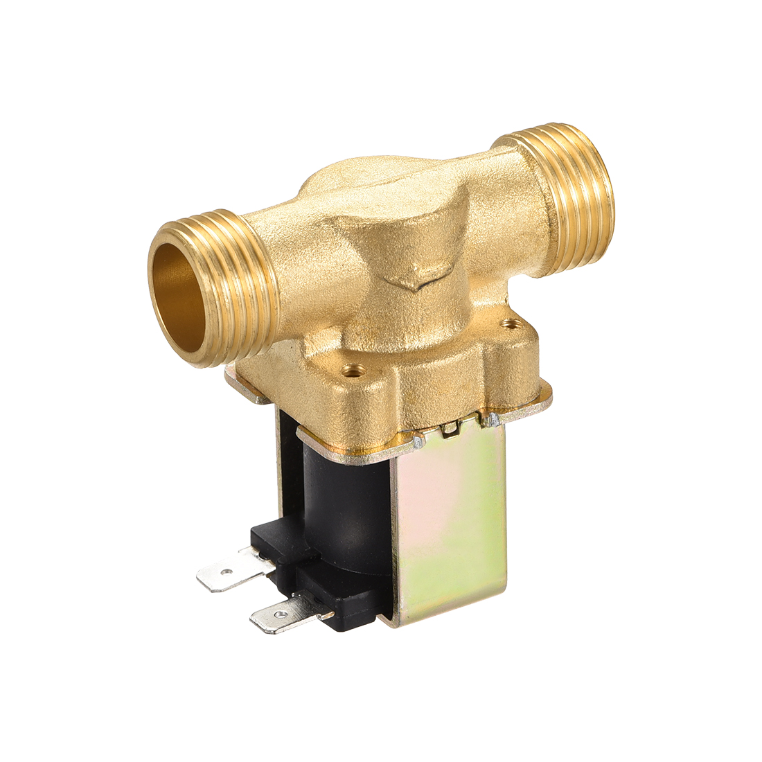Uxcell DC12V G1/2 Brass Water Electric Solenoid Valve Normally Open N/O Pressure Water Inlet Flow Switch Electric Magnetic Valve