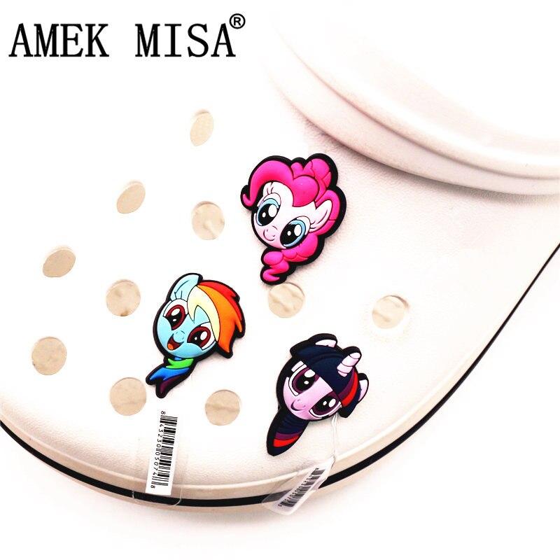 Single Sale 1pcs Shoe Decorations Rainbow Horse Shoe Accessories Original Shoe Buckles Accessory Fit Croc JIBZ Kids Gift F-CHM03
