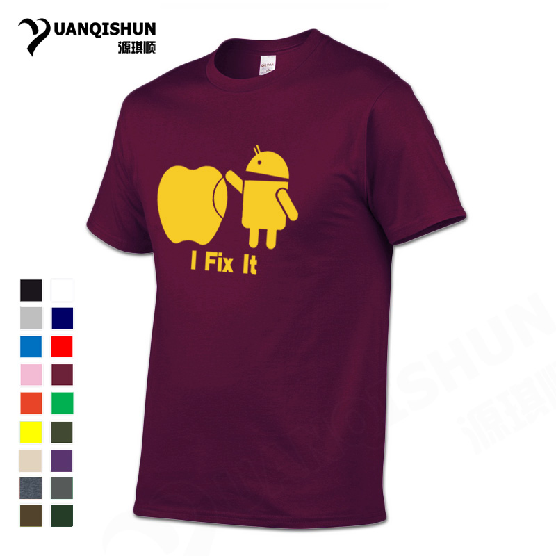 YUANQISHUN 2019 Neue Android Roboter ICH Fix Es Lustige Drucken <font><b>T</b></font>-shirt 100% Baumwolle Boutique Männer Casual <font><b>T</b></font>-shirt <font><b>Apple</b></font> Humor Logo tops Tees image