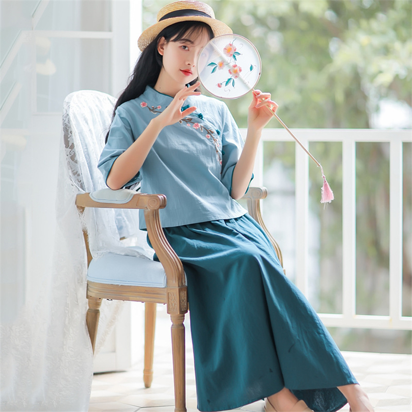 Woman Traditional Chinese Clothing Sets Retro Embroidery Half Sleeve Hanfu Spring Women Elegant Oriental 2 Pieces Tang Suit