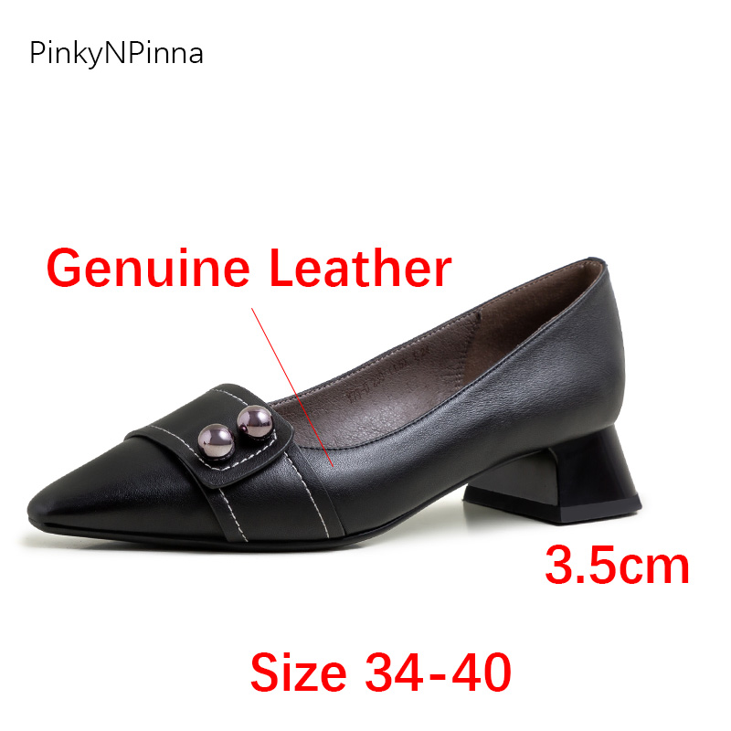 Luxury ladies genuine leather shallow slip on pumps chunky heels metallic beads vintage office women summer spring party shoes