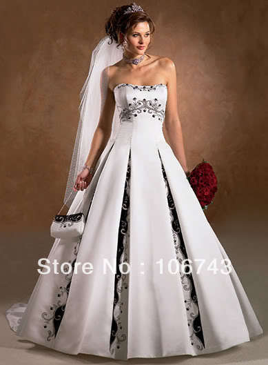 2016 Gowns Free Shipping New Style Best Seller Sexy Bride Custom Size A-line Embroidery Princess Lace Up Bridal Wedding Dress