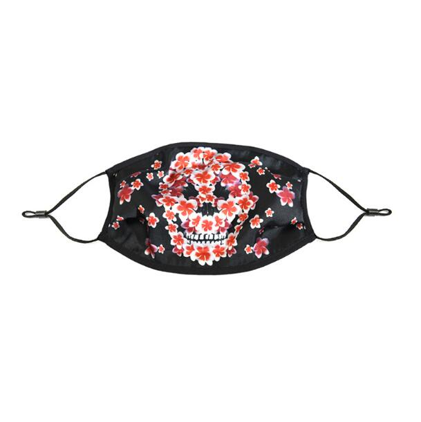Men Women's Spring Summer Flower Skull Print Silk Sunscreen Mask Lady's PM 2.5 Breathable Silk Mouth-muffle R2800