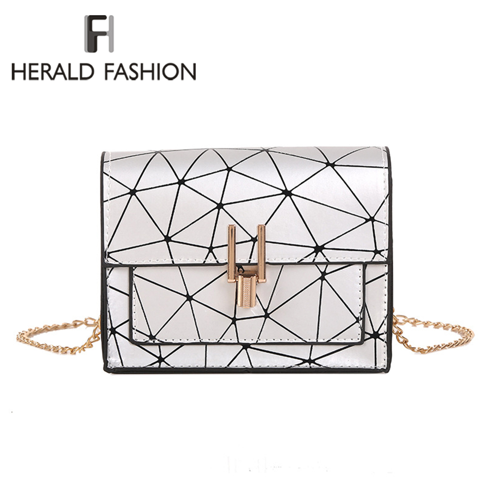 Herald Fashion Women PU Leather Messenger Bags Ladies Luxury Handbag High Quality Women's Chain Party Female Shoulder Bags 2019