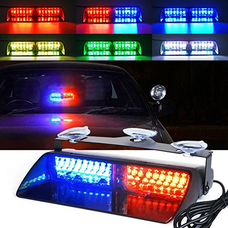Police Lights Car LED Strobe Light Red/Blue Amber/White Signal Lamps Flash Dash Emergency Flashing Windshield Warning Light 12V