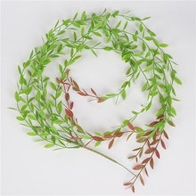 2019Simulation Green Leaf Artificial Weeping Willow Leaves Wall Vines Simulation Home Office Wedding Plant Decoration