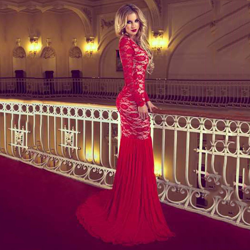 Court Train Prom Red Lace Long Transparent Sleeve Backless Mermaid Evening Gown 2018 Middle East Mother Of The Bride Dresses