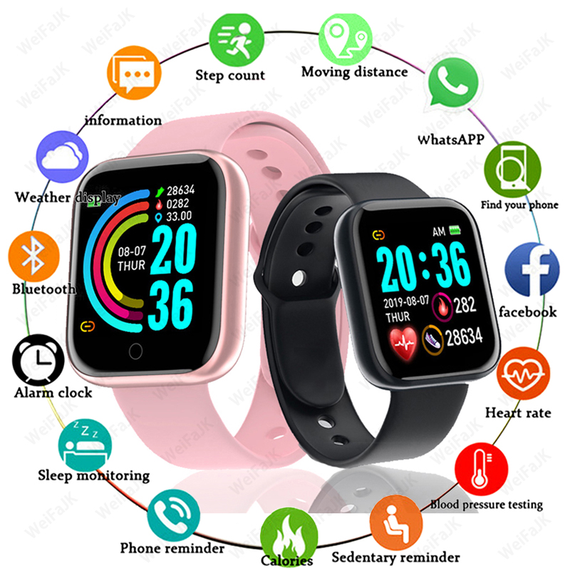 D20 Pro Women Fashion Bluetooth Smart Watch Men Sports Watches Y68 Waterproof Wristband Heart Rate Fitness Bracelet Watch Fit