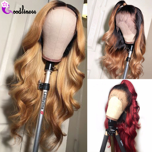 Glueless Brazilian Body Wave Wig 13x4 Colored Human Hair Wigs Ombre Black Burgundy Blonde Lace Front Human Hair Wig Natural Remy(China)