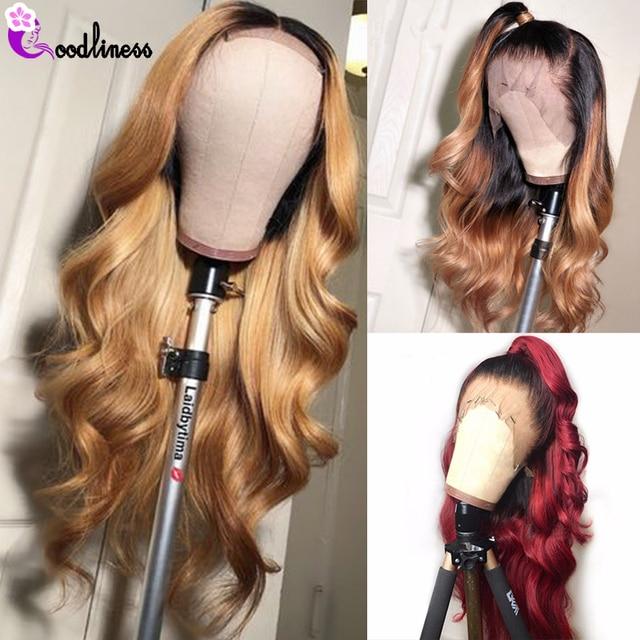 Peluca brasileña sin pegamento de la onda del cuerpo 13x4 pelucas de pelo humano de color Ombre negro Borgoña pelo rubio frente humano peluca Remy Natural