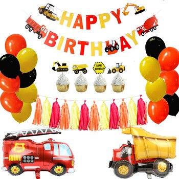 Construção festa de aniversário suprimentos caminhão basculante kits banner balão conjunto para crianças festa menino bombeiro decoração festa