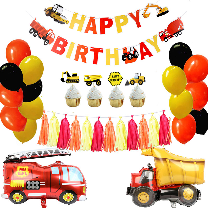Construction Birthday Party Supplies Dump Truck Kits Banner Balloon Set For Kids Boy Party Fireman Firefighter Party Decoration