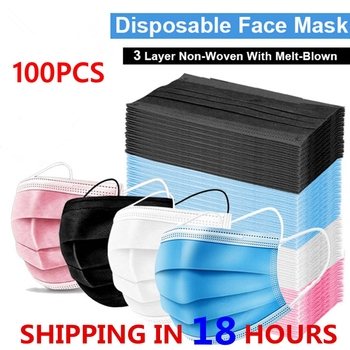 100pcs Mask Disposable Three-layer Nonwove Anti Dust Mouth Windproof Face Masks Mascarilla In Stock 24 Hours Fast Ship - discount item  50% OFF Workplace Safety Supplies