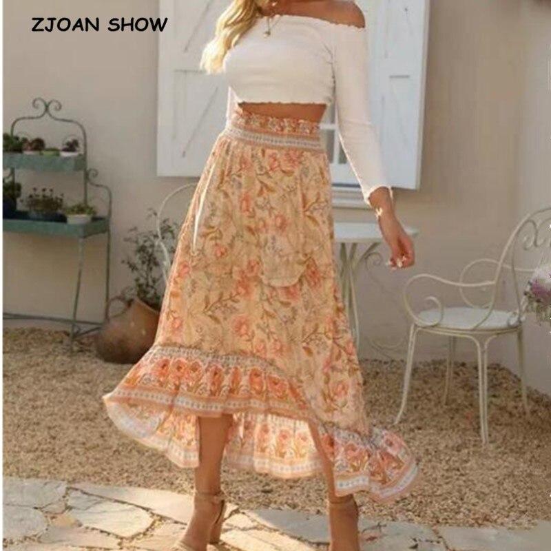2020 Bohemian Apricot Floral Print Long Skirt BOHO Holiday Women High Waist Stitching Wood Ears Ruffles Maxi Long Skirts Beach
