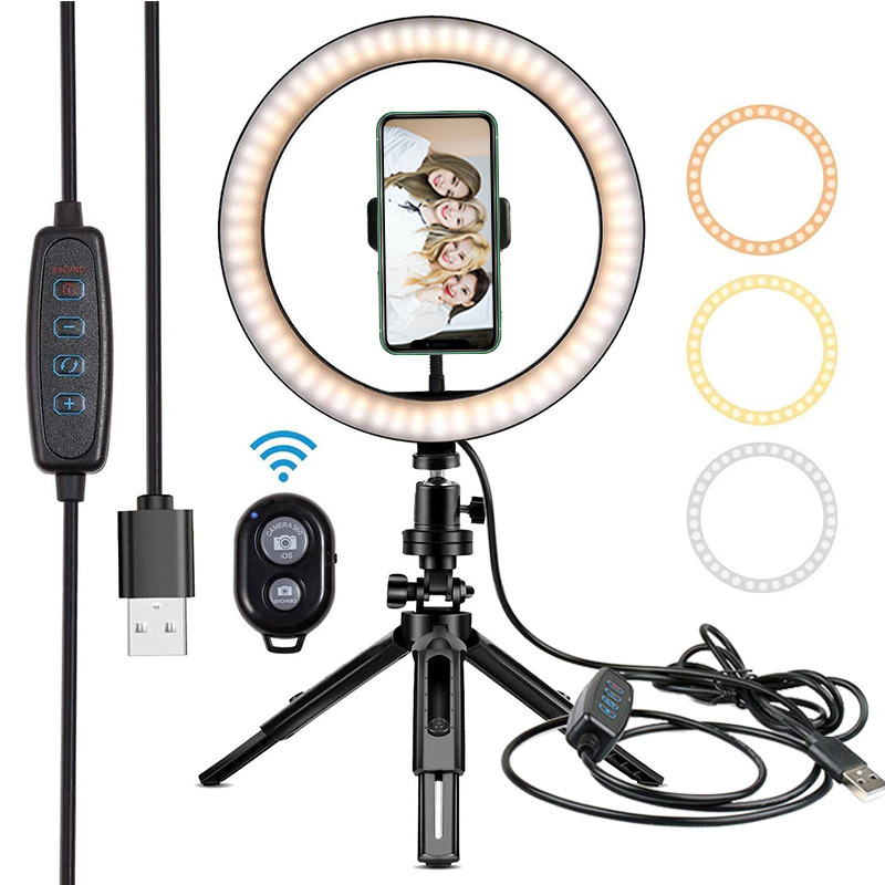 LED Selfie Ring Light 26CM Dimmable Photography Camera Phone Ring Lamp 10inch Telescopic tripod For Makeup Video Live Studio