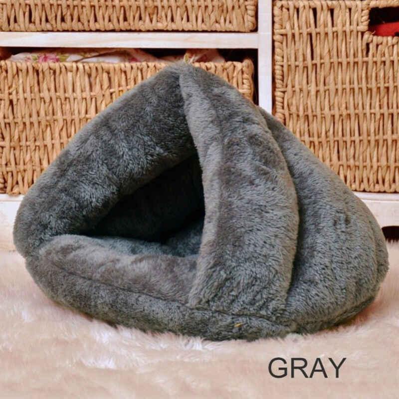 2019 animal de compagnie chien chat Triangle lit maison chaud doux tapis literie grotte panier chenil lavable nid