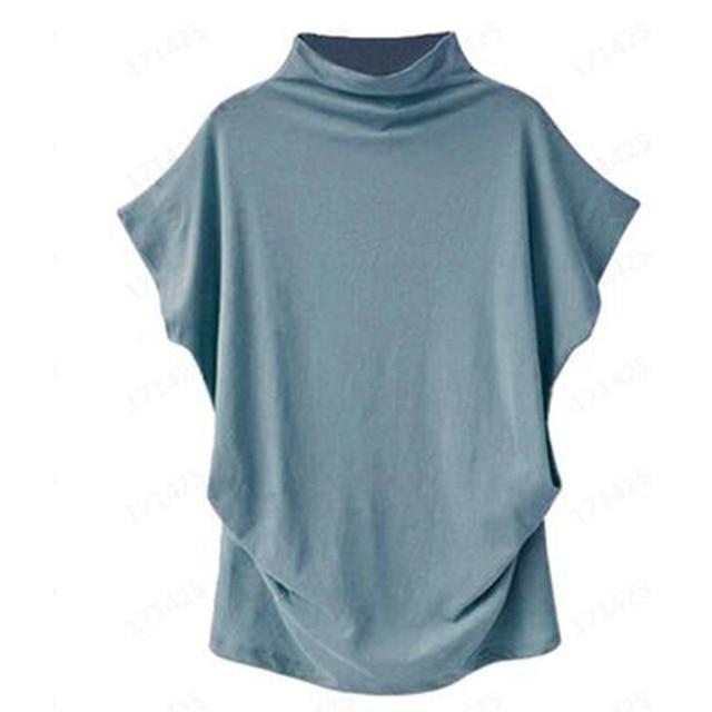 Blusa informal de algodón con manga corta de murciélago para Jocoo Jolee, Camisa lisa de talla grande para mujer, 2020 4