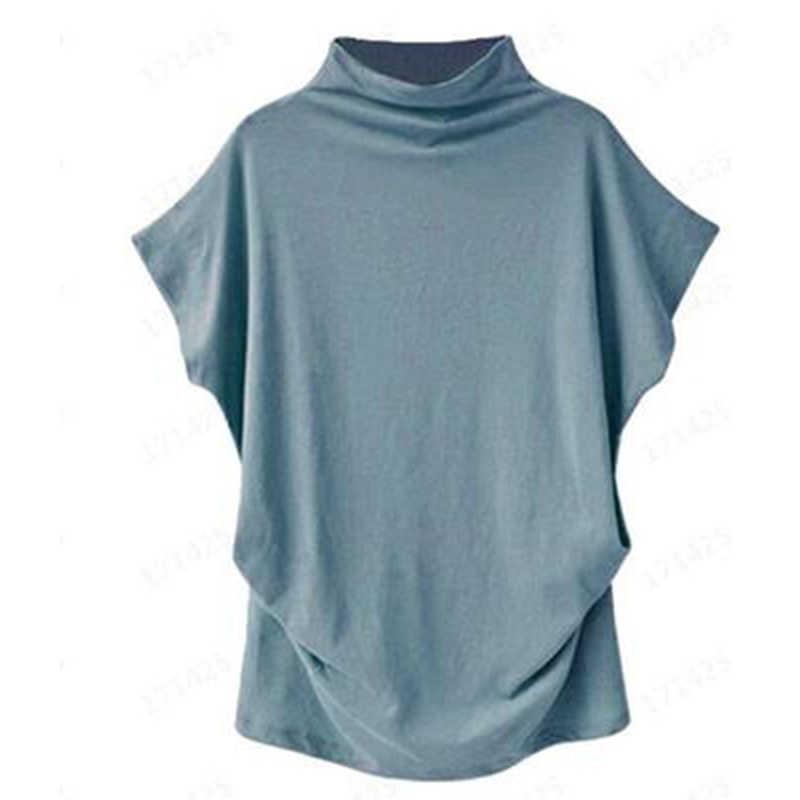Jocoo Jolee-chemisier col roulé pour femme, manches courtes, chauve-souris, en coton, couleur unie, grande taille hauts haut décontracté