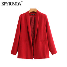 Vintage elegante Oficina Wear Chaqueta roja Coat mujeres 2020 moda manga larga bolsillos Mujer prendas de vestir exteriores Chic Tops