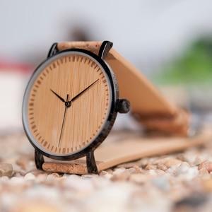 Image 4 - BOBO BIRD Stylish Wood Women Quartz Watch relogio feminin Stainless Steel Case With Cork Leather Band Thickness часы женские