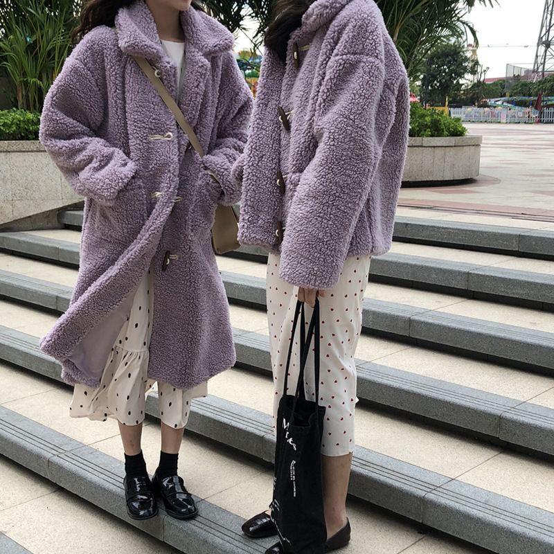 Autumn And Winter 2019 New Style Korean-style Versatile Western Style Warm Faux Cashmere Cardigan Coat Loose-Fit Long Sleeve Cot