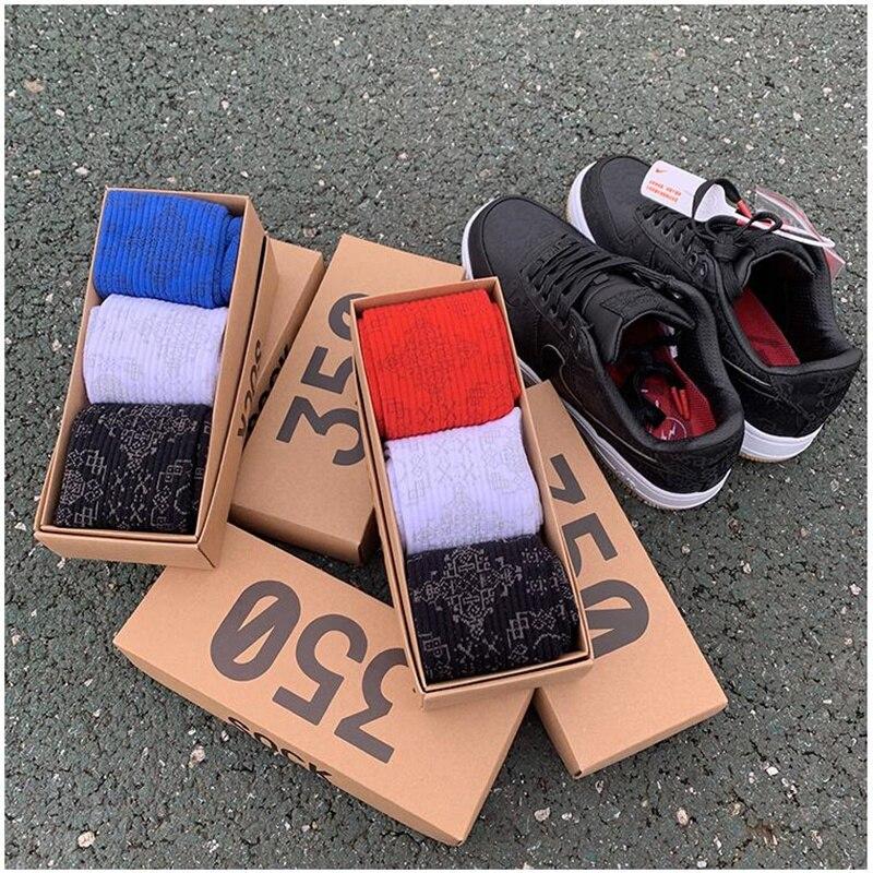 New Harajuku Stocks Cotton Socks Hip Hop Street Sports 3 Pairs/Box Socks Men And Women Stocks Spring Tide Socks