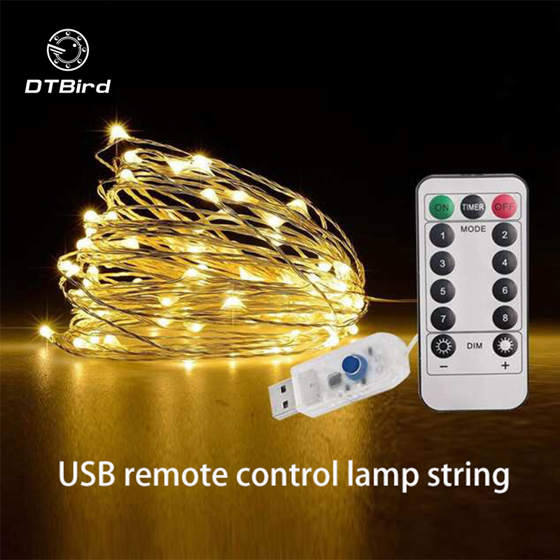 USB Remote Control 8 Function Copper Wire Lamp String Christmas Wedding Bedroom Decoration 10m 100 Light Silver Wire Lamp